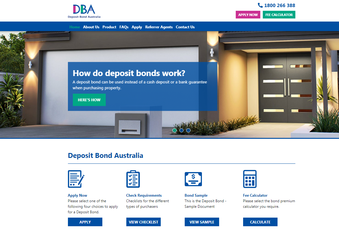 Deposit Bond Australia web development case study