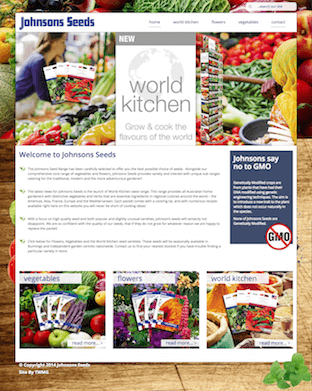The New Johnsons Seeds website is powered by Magento CMS.