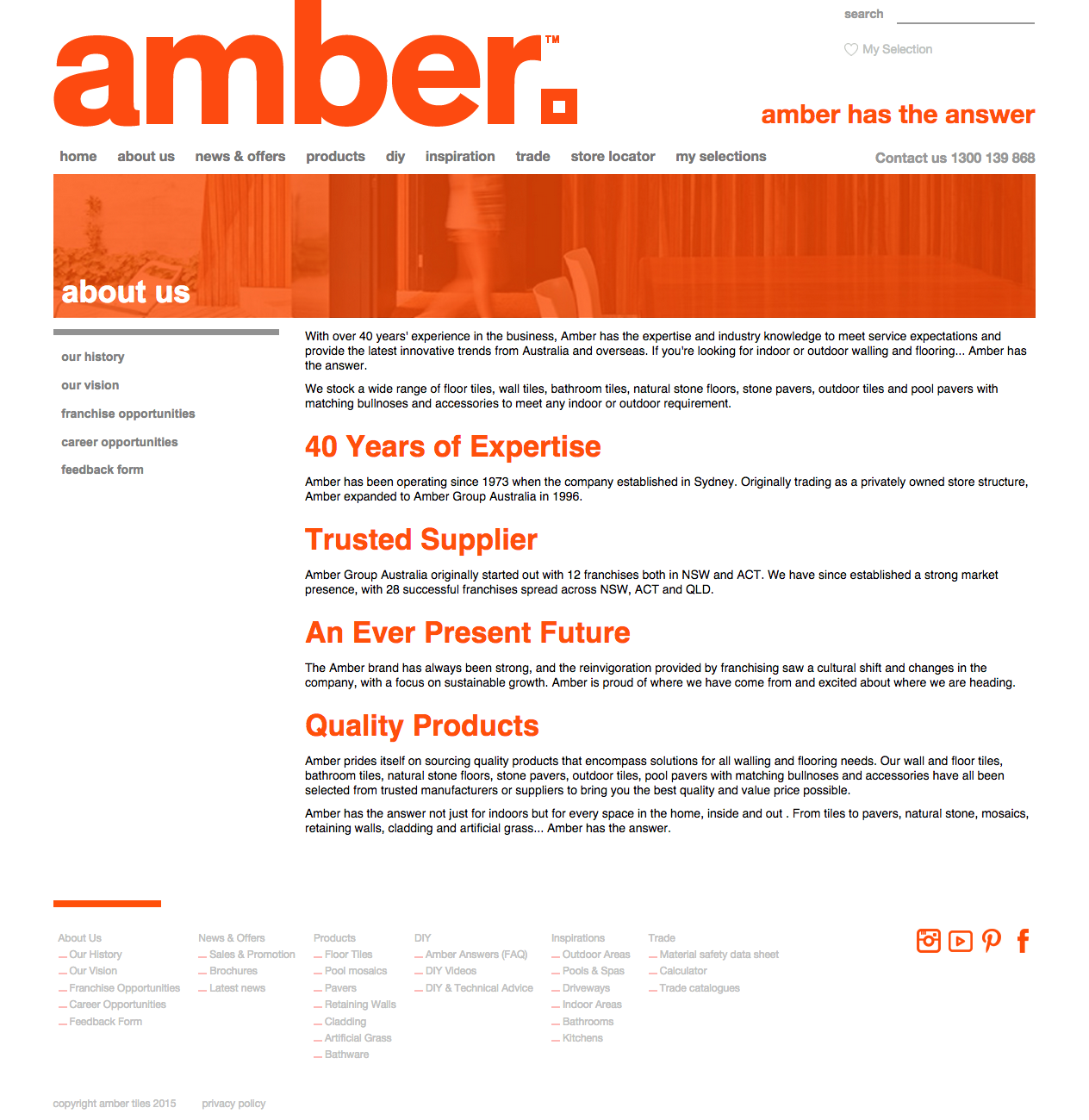 New Amber Tiles Website - About Us