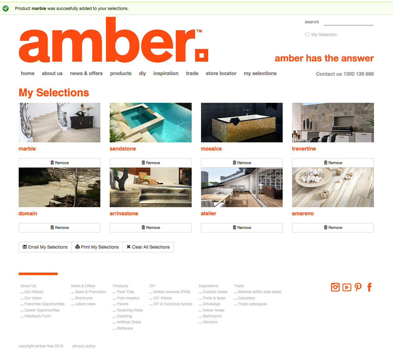 New Amber Tiles Website - My Selection