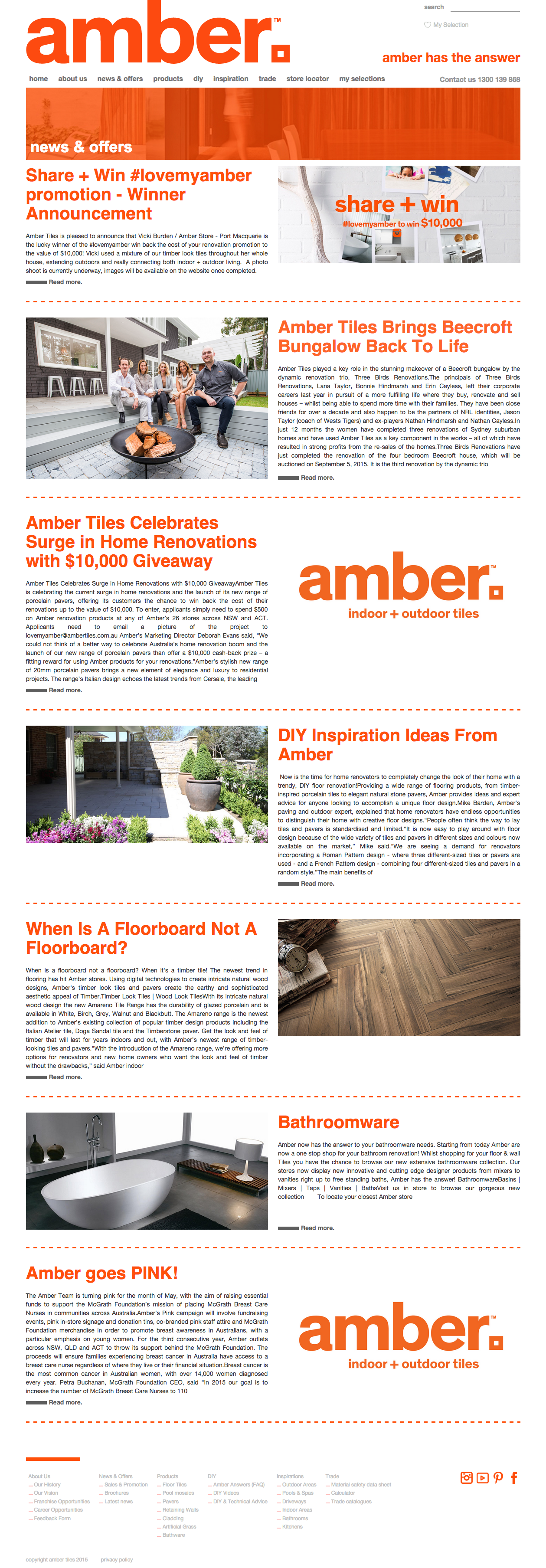 New Amber Tiles Website - News and Offers