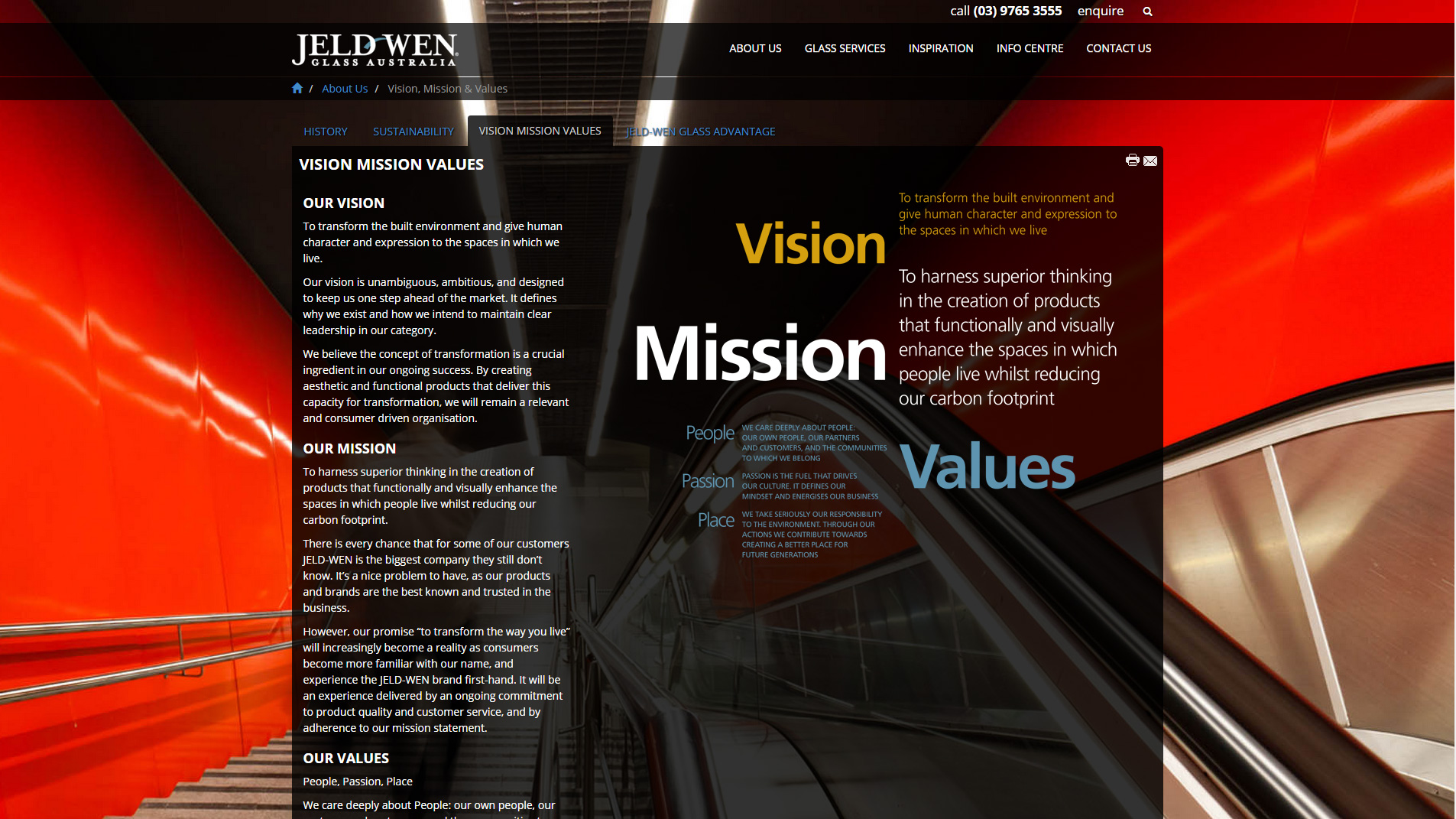 New JELD-WEN Glass Website - Mission Vision and Values