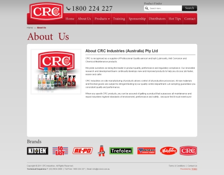 Chemical Cleaning Products CRC Website Development Agency Sydney - About Us Page