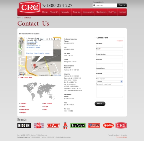 Chemical Cleaning Products CRC Website Development Agency Sydney - Contact