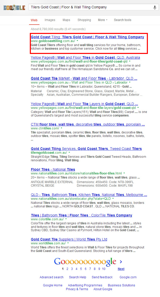 Gold Coast Tiling in the first page of google search