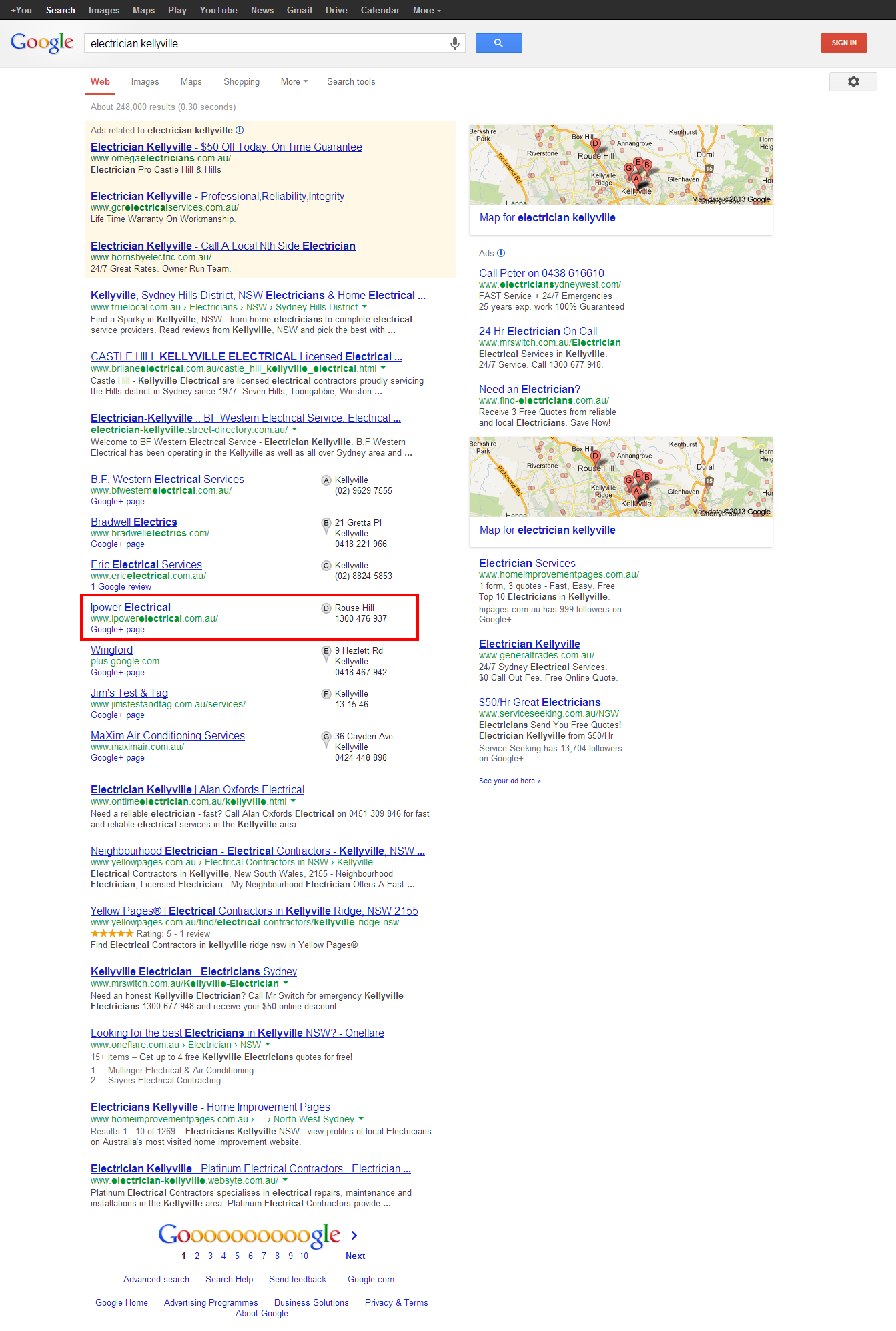 iPower Electrical Google Page Result
