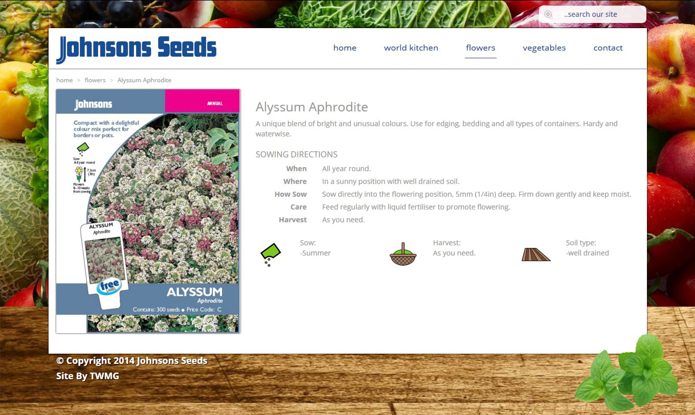 Johnsons Seeds- Online Product Catalogue Website - Flowers Product Page