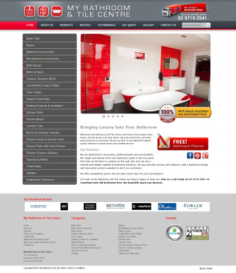 My Bathroom Tile Centre Website Development Agency Sydney - Home Page
