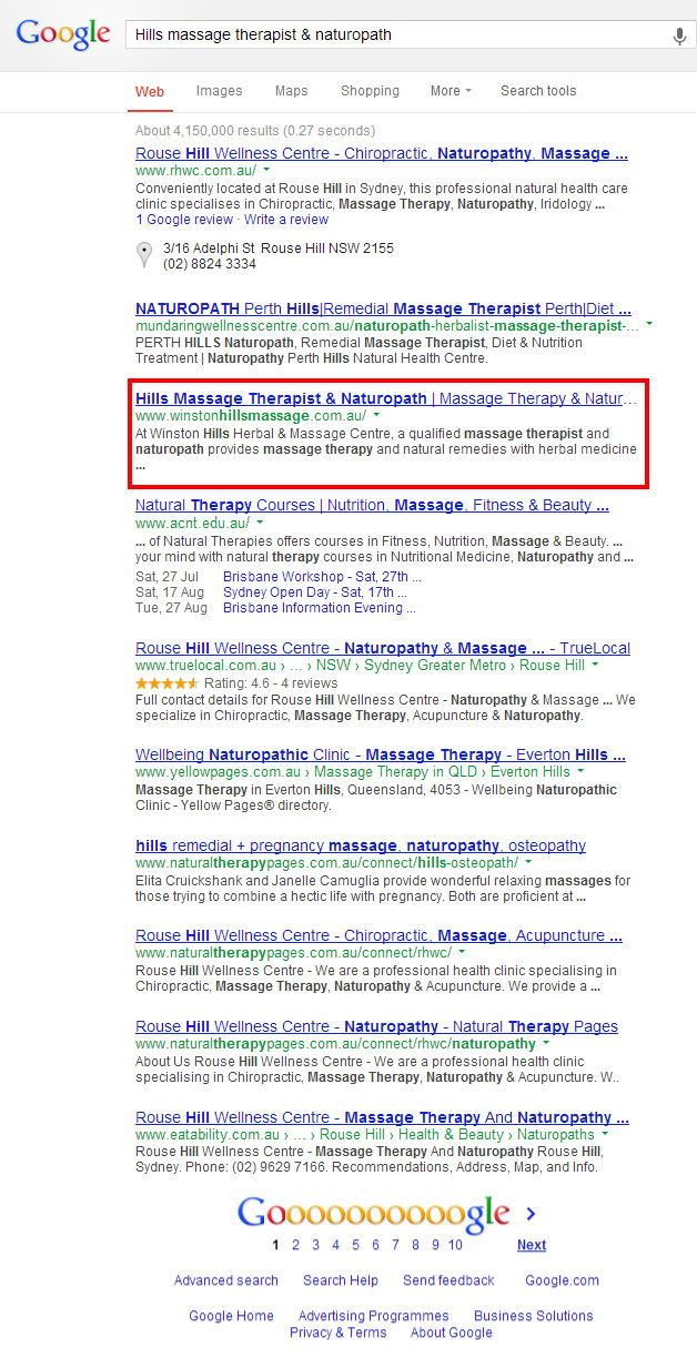 Winston Hills Massage in the 1st page of google search