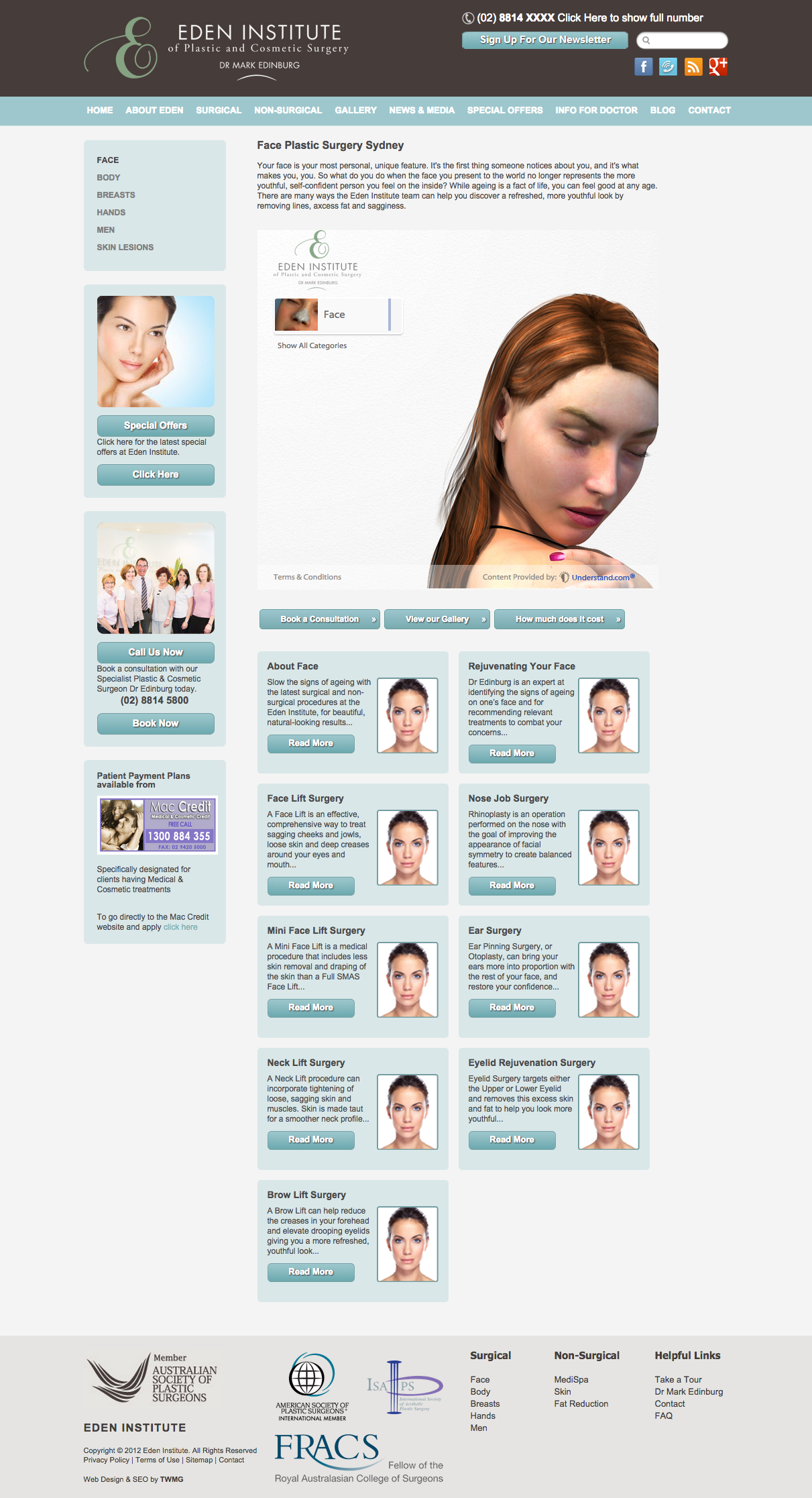 Check out Eden institute Plastic Surgery - Face Surgery to know how our web developers and web design Sydney team to help your online marketing, SEO, SEM, social marketing and web development.