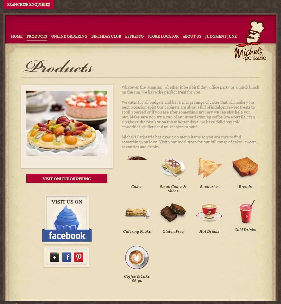 Check out Michel s Patisserie Products to know how our web developers and web design Sydney team to help your online marketing, SEO, SEM, social marketing and web development.