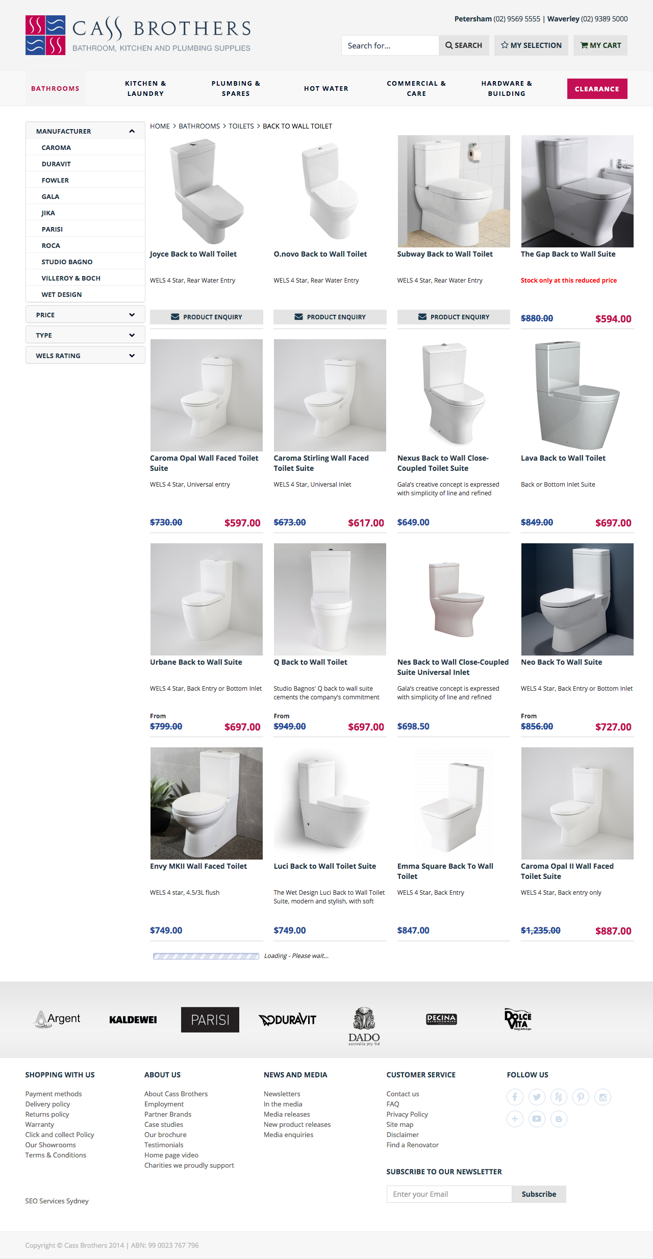 Check out Cass Brothers - eCommerce Store - Back to Wall Toilets Range to know how our web developers and web design Sydney team to help your online marketing, SEO, SEM, social marketing and web development.