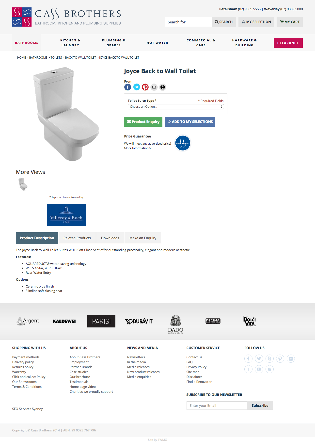 Check out Cass Brothers - eCommerce Store - Joyce Back to Wall Toilet to know how our web developers and web design Sydney team to help your online marketing, SEO, SEM, social marketing and web development.