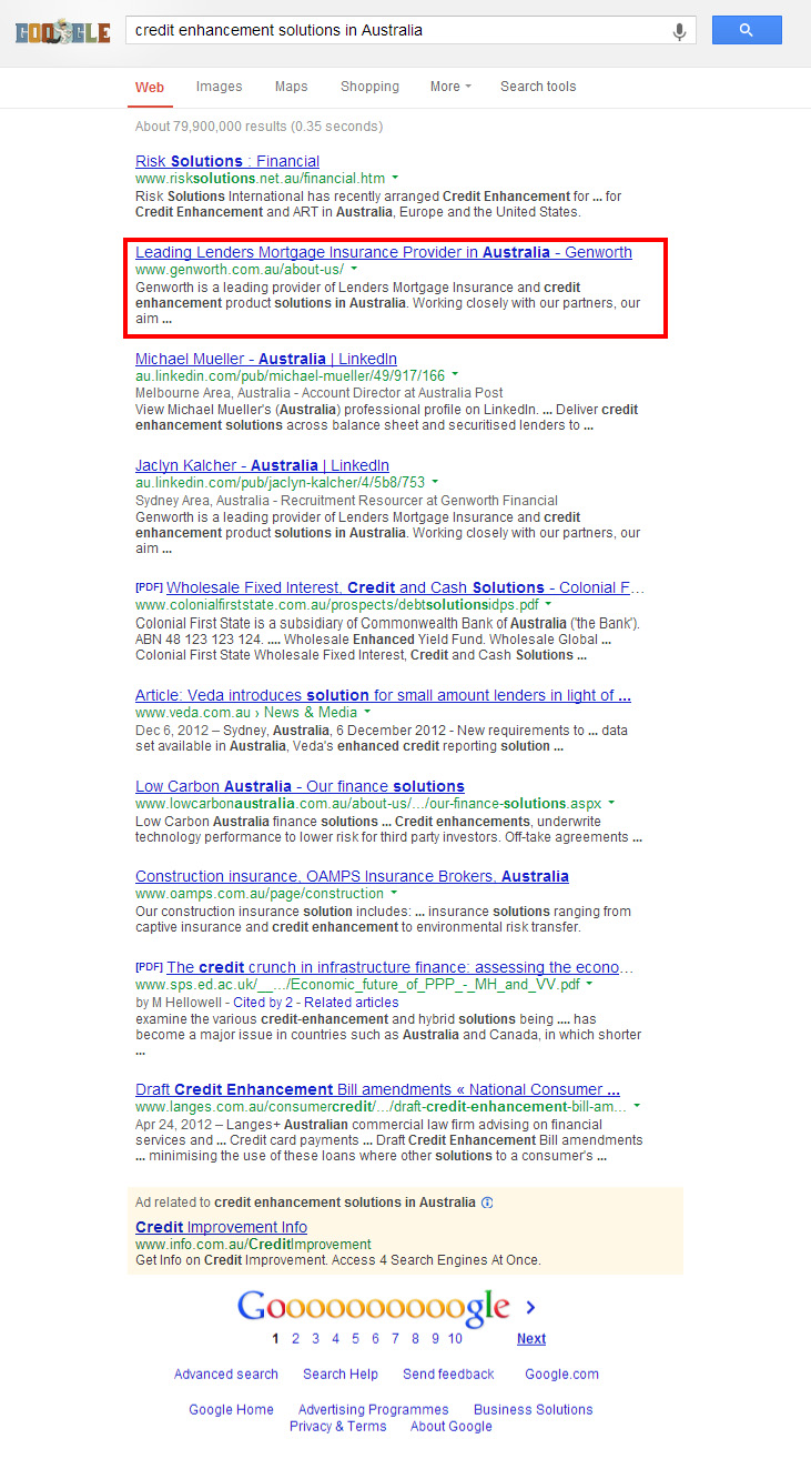 Check out Genworth on 1st page of google search to know how our web developers and web design Sydney team to help your online marketing, SEO, SEM, social marketing and web development.