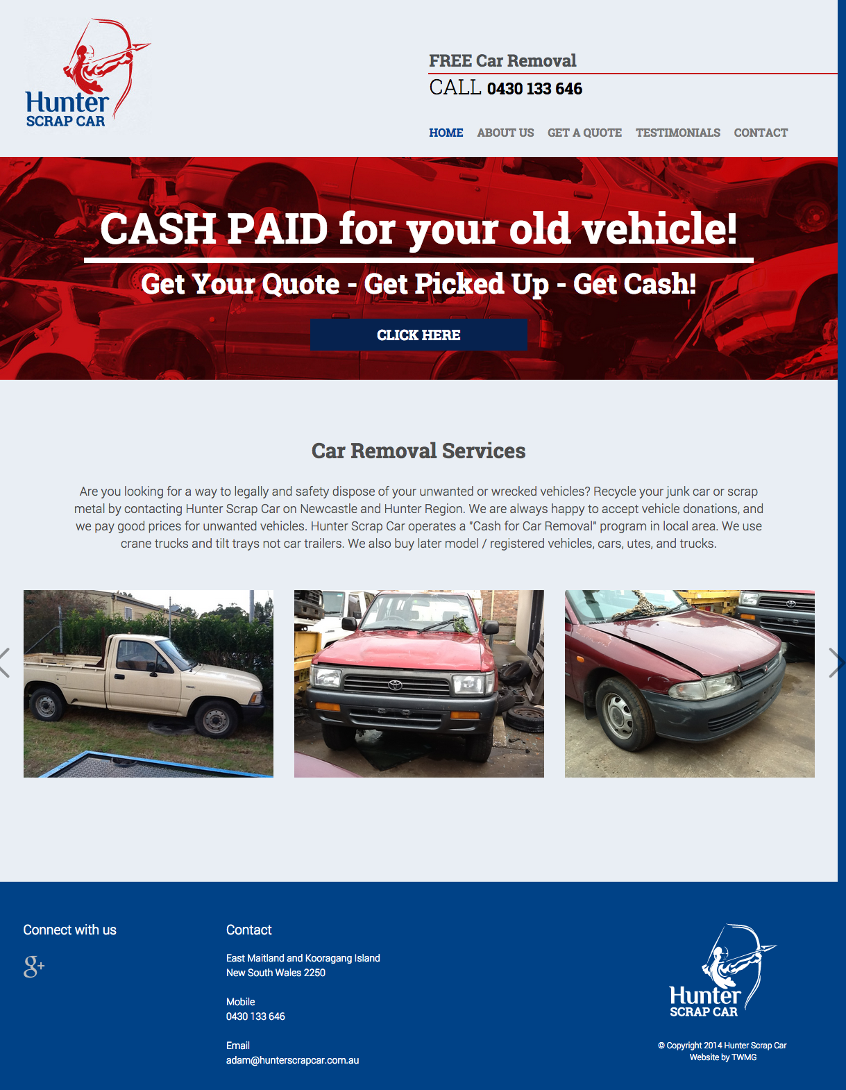 Check out Hunter Scrap Car - Website Design - Home to know how our web developers and web design Sydney team to help your online marketing, SEO, SEM, social marketing and web development.