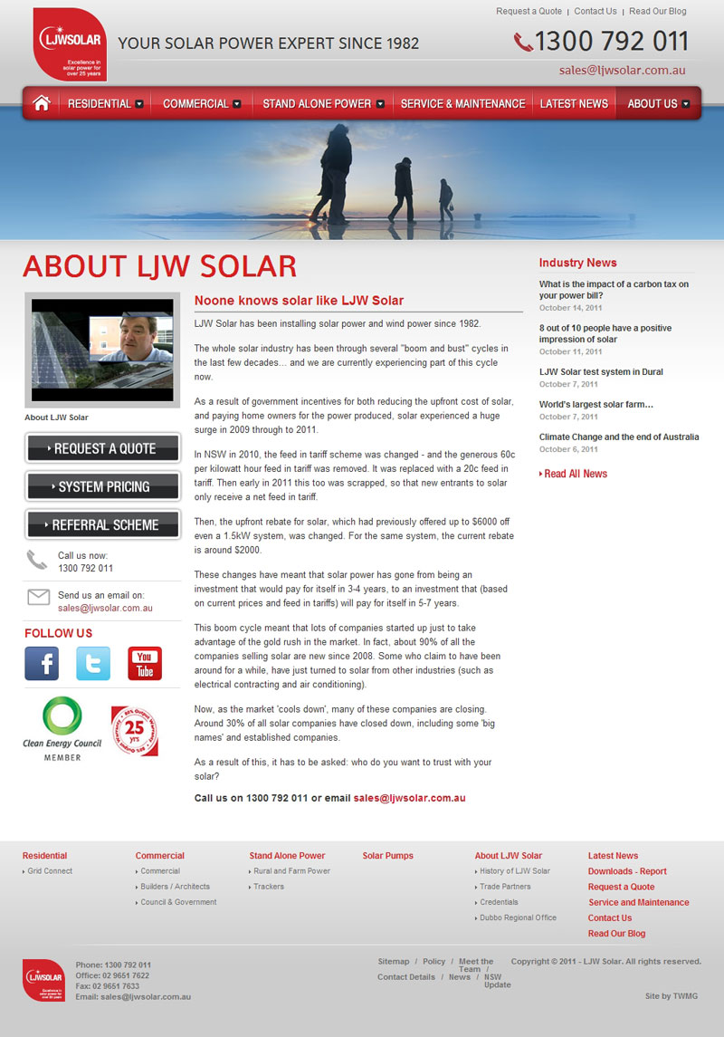 Check out LJW Solar About to know how our web developers and web design Sydney team to help your online marketing, SEO, SEM, social marketing and web development.