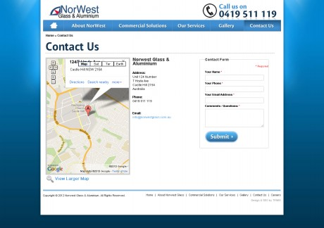 Northwest Glass & Aluminium Website Development Agency - Contact Page
