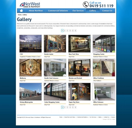 Northwest Glass & Aluminium Website Development Agency - Gallery Page