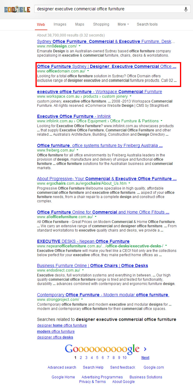 Office Domain in the first page of google search