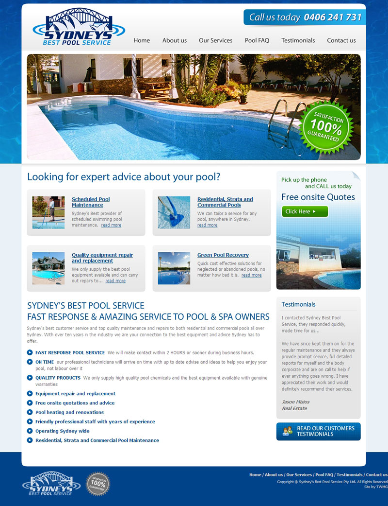 Check out Sydney Best Pool Service Home to know how our web developers and web design Sydney team to help your online marketing, SEO, SEM, social marketing and web development.